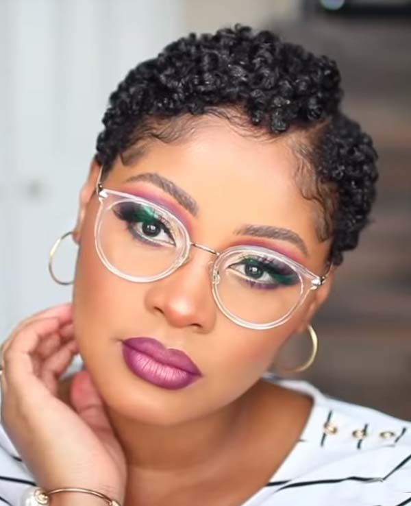 New Short Textured Hairstyles For Black Women With Glasses Black Women Short Hairstyles Black Women Hairstyles Short Natural Hair Styles