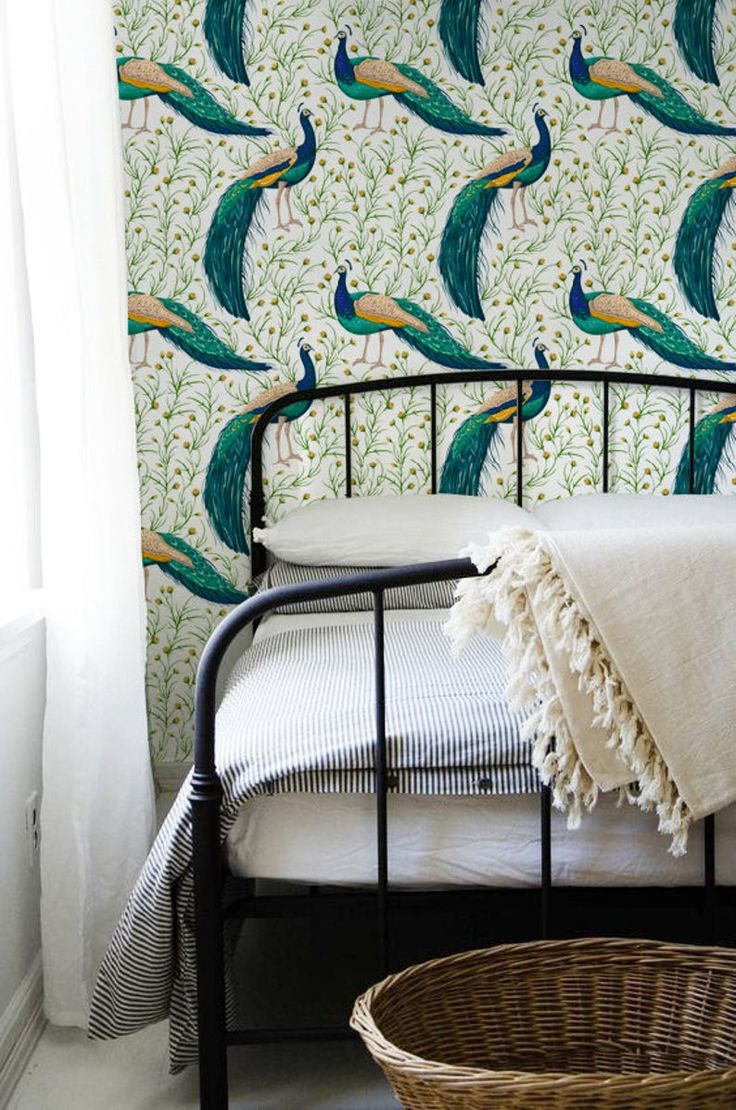 Peacock removable Wallpaper traditional green Print