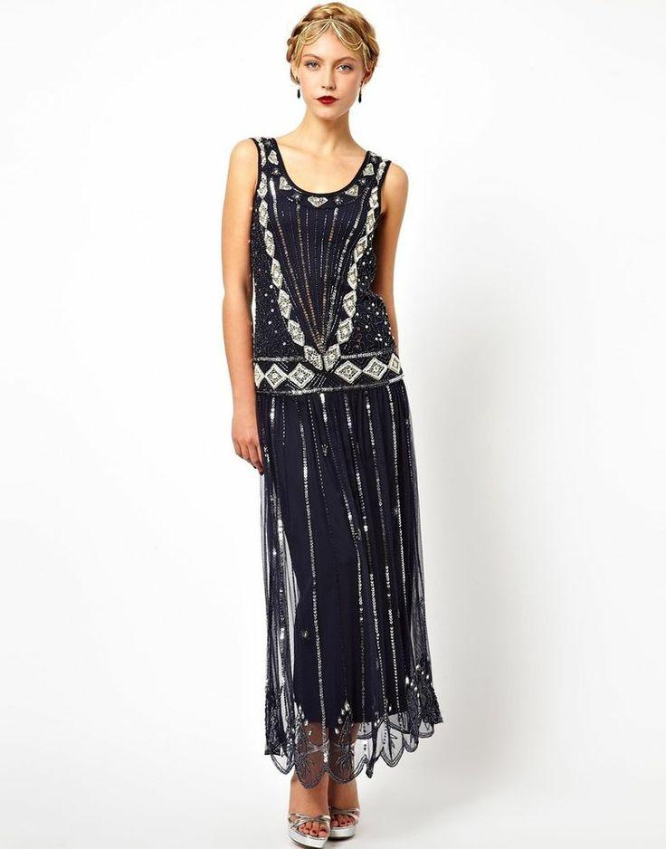Long length dress 1920 s flapper charleston uk 8 12 14 gatsby art deco