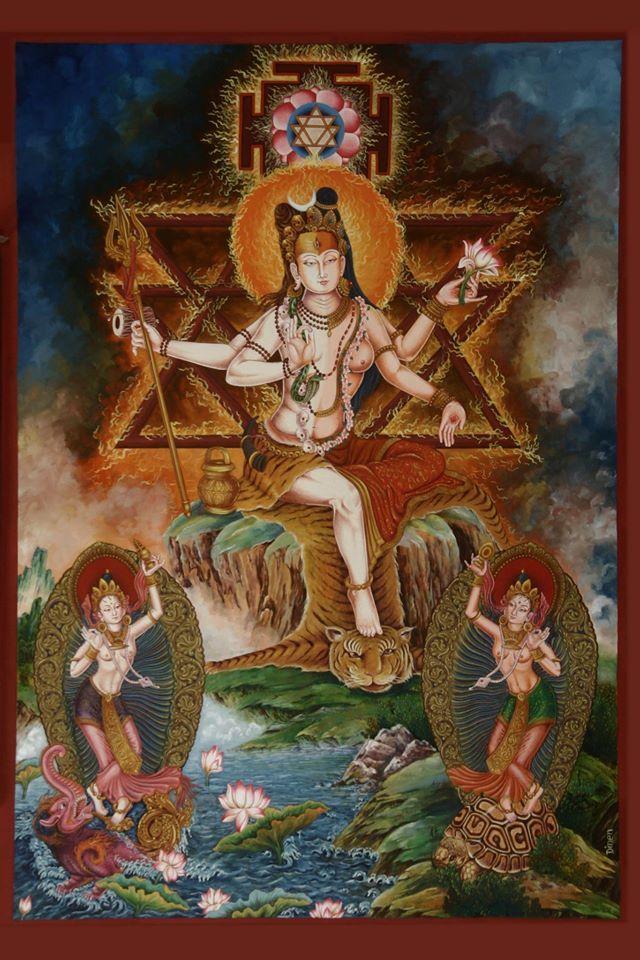"arjuna-vallabha: ""Ardhaniswara (Shiva and Parvati) with Ganga on makara and Yamuna on a turtle by Dinen Maharjan, Nepal """