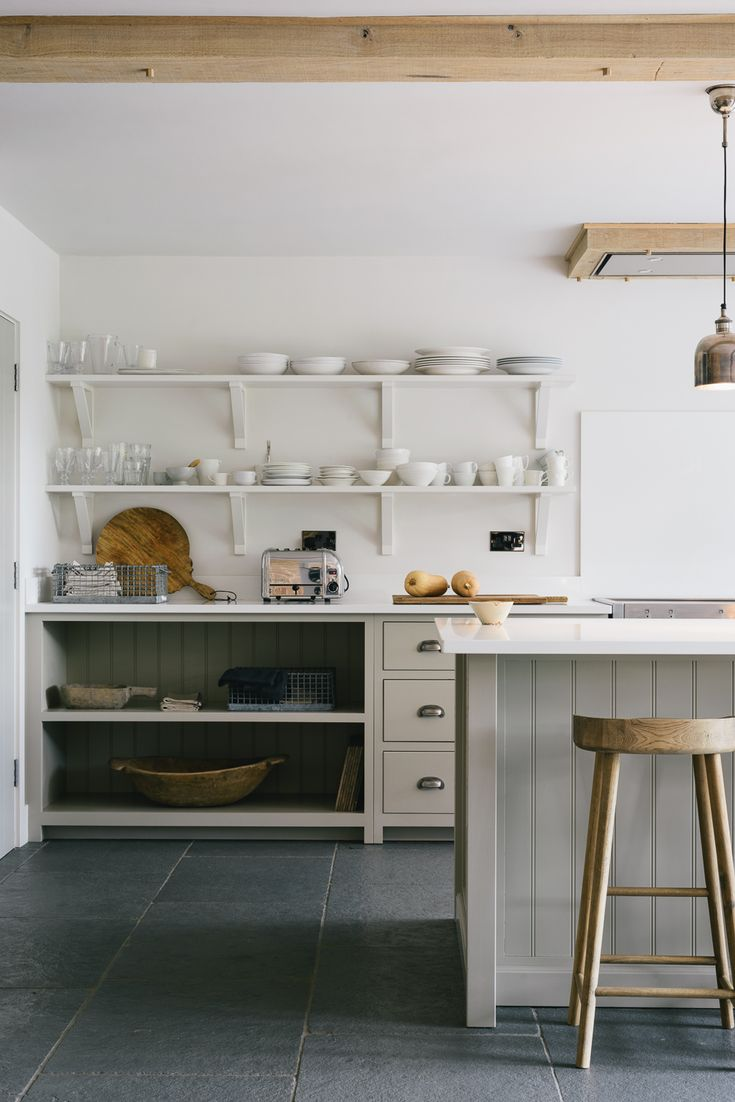 Stylish open shelving and neutral colours in deVOL's Henley on Thames Kitchen