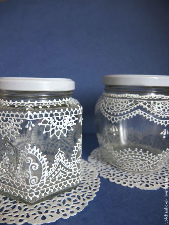 Купить Баночка стеклянная, расписанная акриловыми красками, кружева - белый, баночка стеклянная, банка с крышкой
