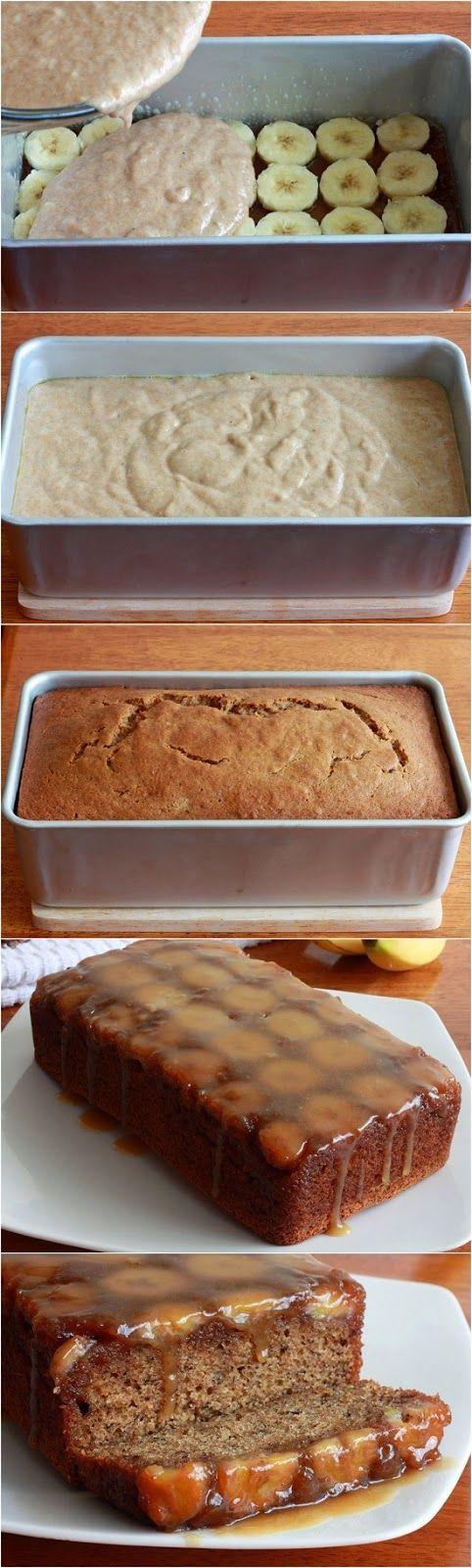 The Best Ever Upside Down Banana Bread with Caramel Glaze by DaringGourmet.com