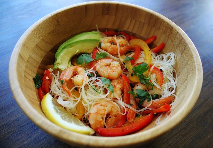 Asian Inspired Shrimp Cilantro Rice Noodle Salad