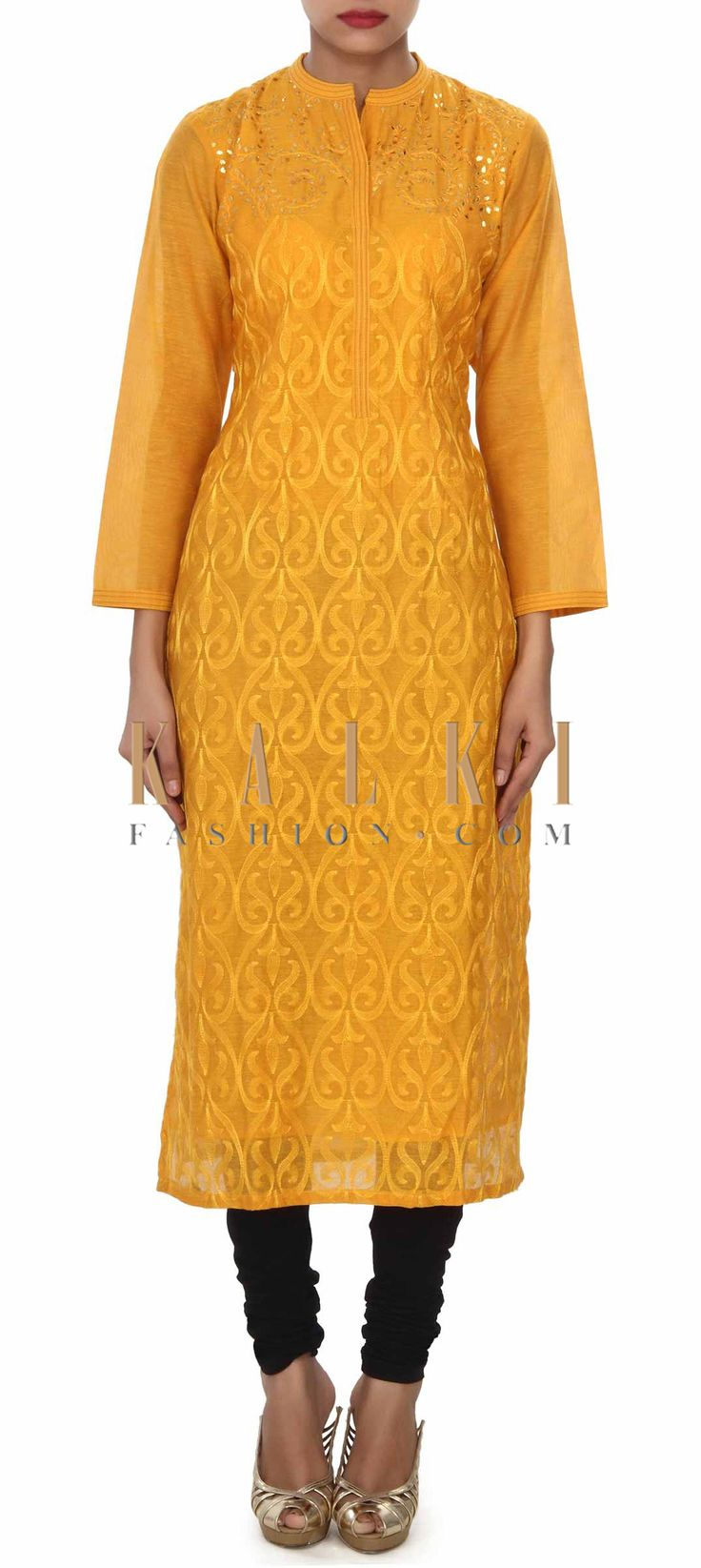 Buy this Yellow kurti enhanced in gotta patch work embroidery only on Kalki