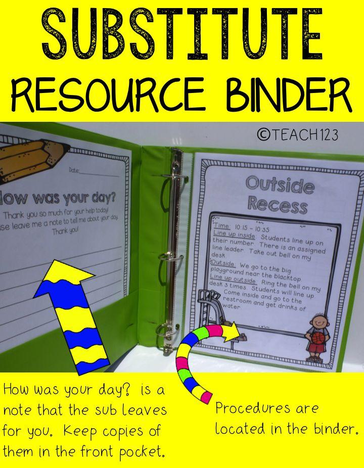 Teach123 - Tips for Teachers: Sub Plans Resource Binder