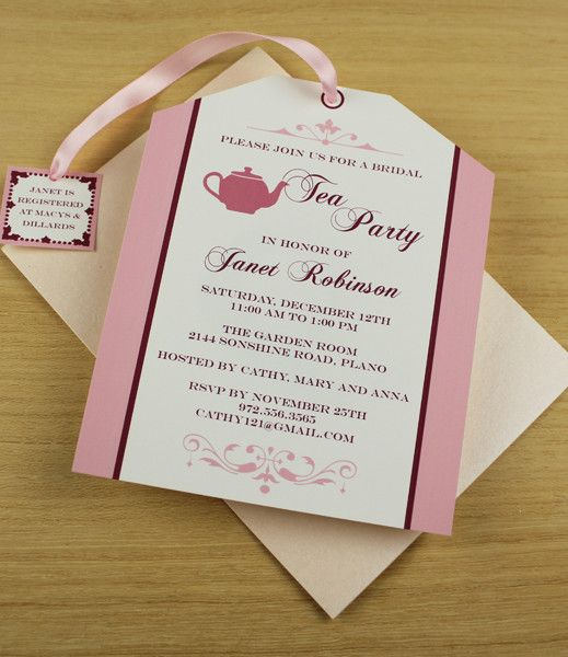 DIY Tea Party invitation from #DownloadandPrint. Cute tea bag cutout, perfect for a bridal shower. http://www.downloadandprint.com/templates/tea-party-tea-bag-invitation/