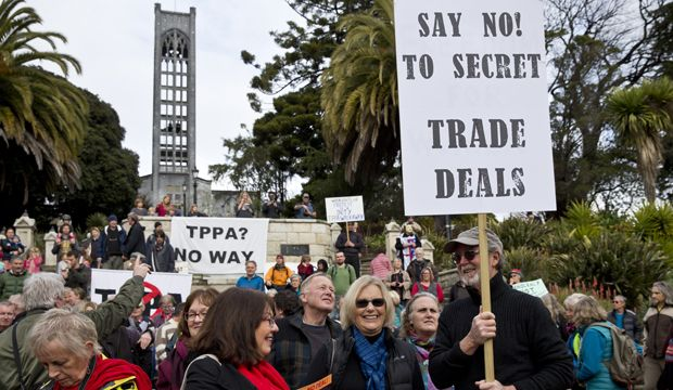 Thousands march against TPP trade agreement   15 August  2015