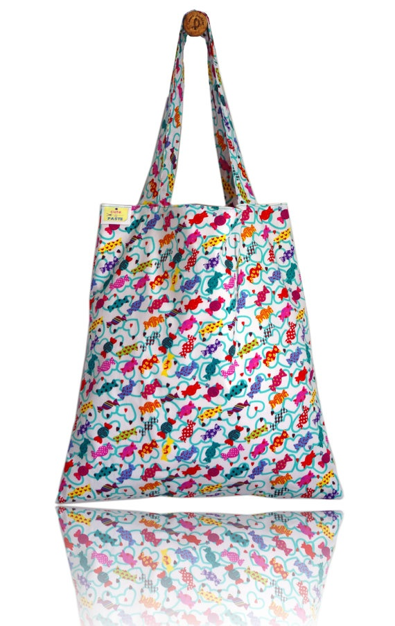 Retro Sweets Lined Tote Bag - Handmade in London via Etsy