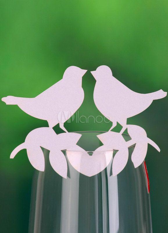 Tradizionale bianco amore uccelli matrimonio luogo carte Set di 12 - Milanoo.com