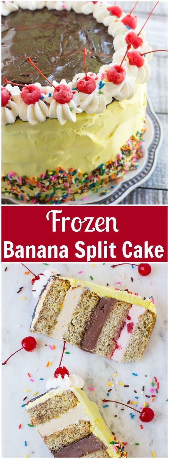 Banana Split Ice Cream Cake