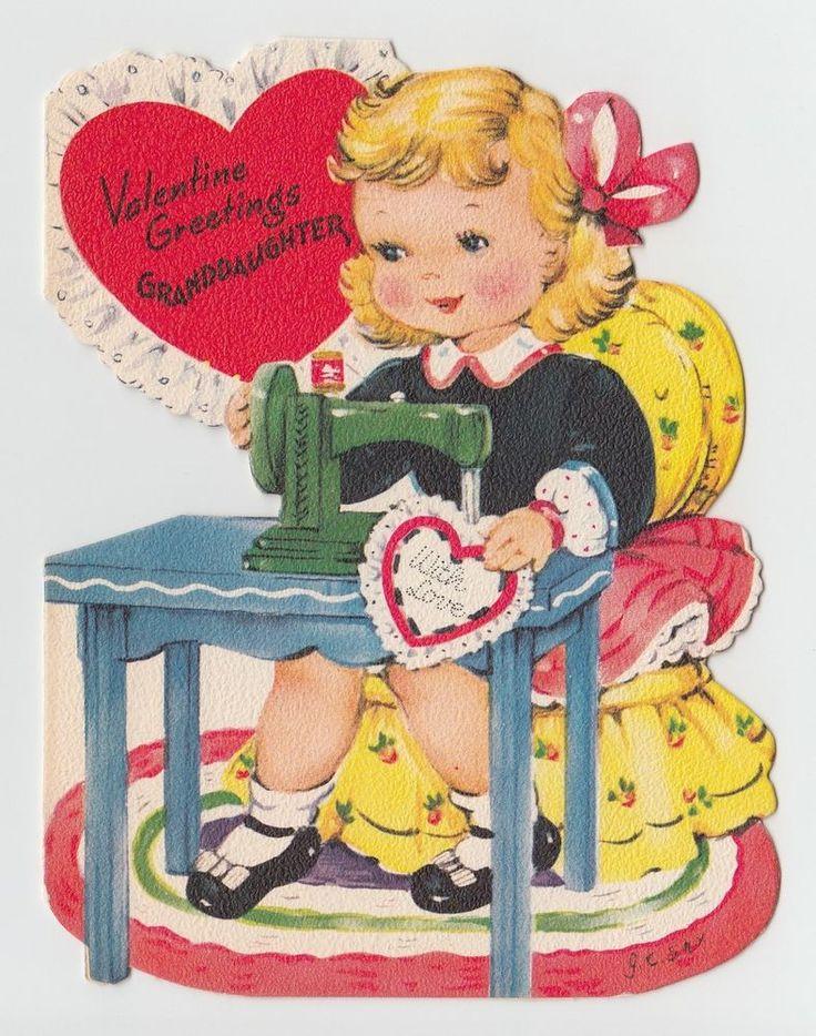 Vintage Greeting Card Valentine Cute Girl Sewing Machine Die-Cut Gibson J.C. Sax