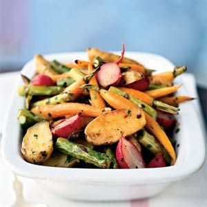 Roasted Baby Spring Vegetables.  This looks like a lovely side dish for Easter dinner.