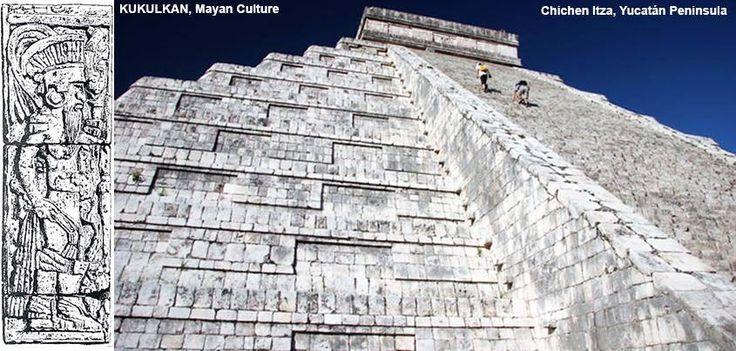 La Pyramide de Kukulkan est la pyramide centrale de Chich'en Itza. Chacun des quatre côtés a quatre-vingt-onze marches ascendantes, 364 marches au total, avec le temple en tête de la pyramide considérée comme une étape additionnelle totalisant 365, chaque étape représentant un jour dans le calendrier. Les neuf étapes de la pyramide, coupées par un escalier de chaque côté, représentent les dix-huit mois de l'année du calendrier maya.