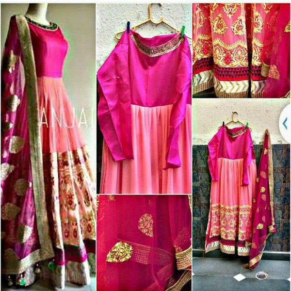 Pink Gown with Dupatta