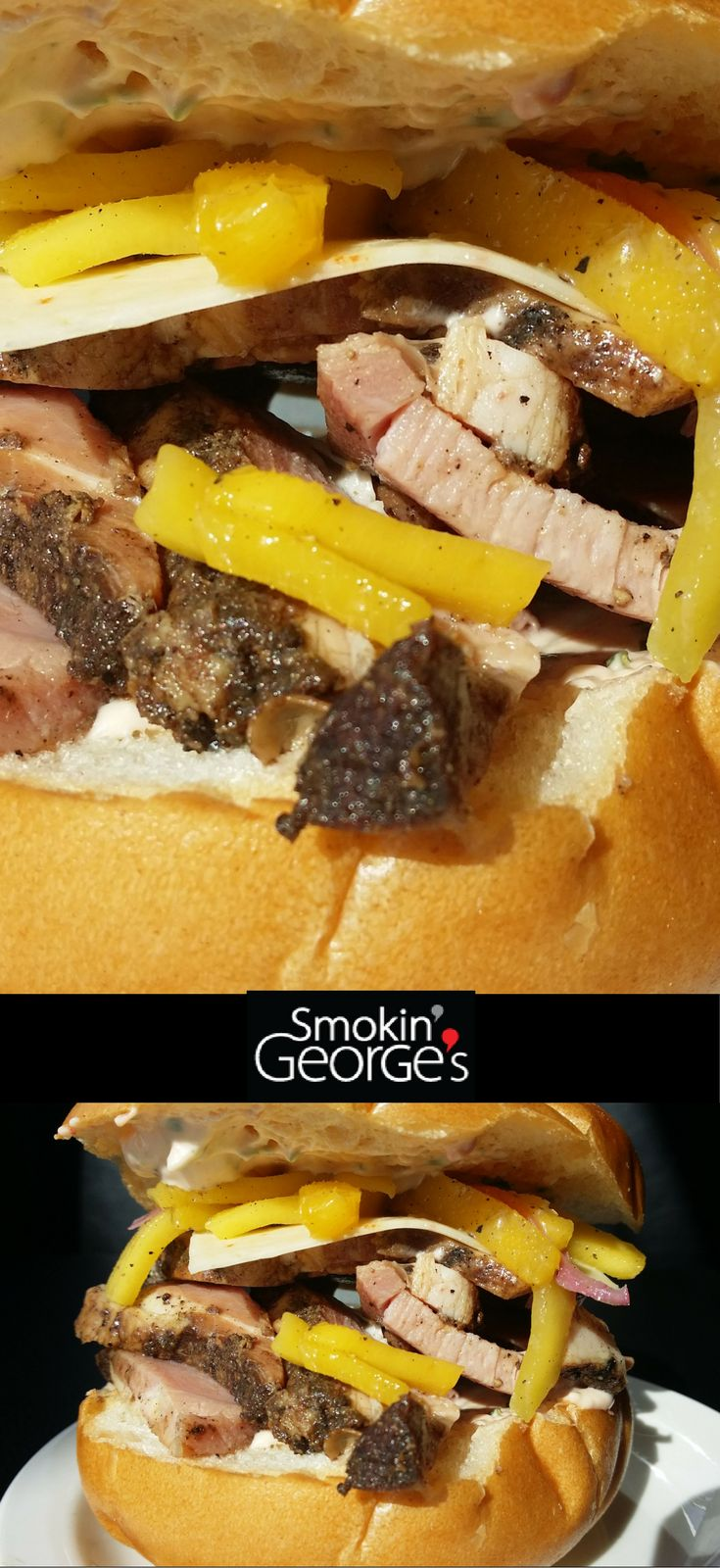 Introducing our Smokin' George's special: Ham Sandwich with Havarti Cheese, and Mango Slaw. Slow food, fast.