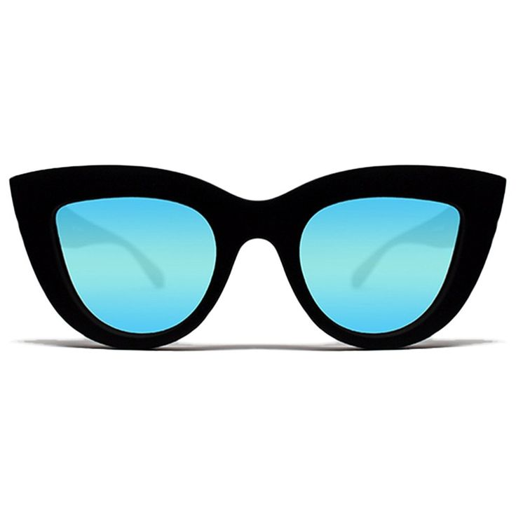 Quay Kitti Sunglasses Cat Eye Plastic Frame Irridescent Lense (Black w/ Blue Mirror) at Amazon Women's Clothing store: