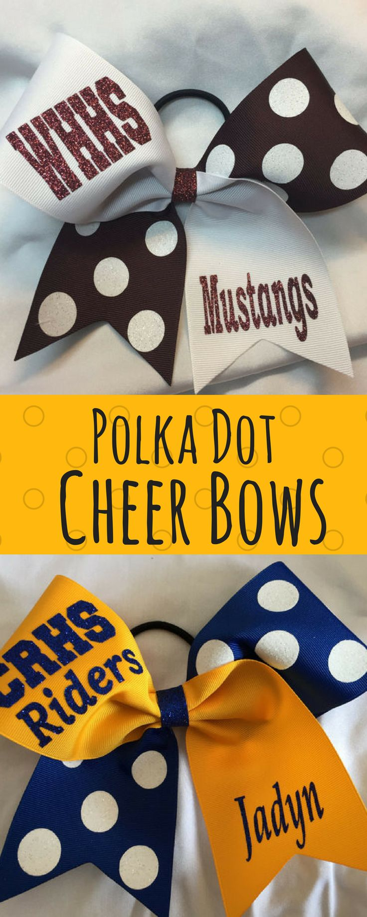 Grosgrain Custom Polka Dot Cheer Bow. Cheerleading hair bows. Custom and polka dot pattern. Cute cheer bows! #cheerleading #ad