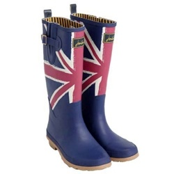 Joules Jack Welly Boots  Joules Women's Jack Welly with its navy background and Union Jack is a celebration of the Queen's Jubilee year:     - lining: 65% polyester, 35% cotton    - hardwearing rubber sole    - adjustable side buckle and strap    - 100% waterproof  $56.95 at www.applesaddlery.com