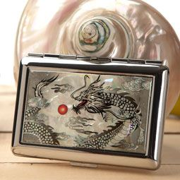 Mother of Pearl Cigarette Case with Black Dragon Design