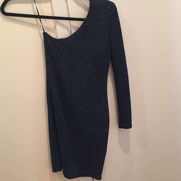 Asos petite mini dress One sleeve mini dress. Black with blue and silver embellishment.. Can look navy. Not lined. Skin tight fits really nice ASOS Dresses Mini