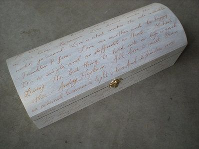 """Love letter box - The bride and groom write a """"love letter"""" to each other, put it in the box with a bottle of wine, nail it shut at ceremony and then open it on a special anniversary (10th, 25th). We do this all the time. LovingUnity.com"""