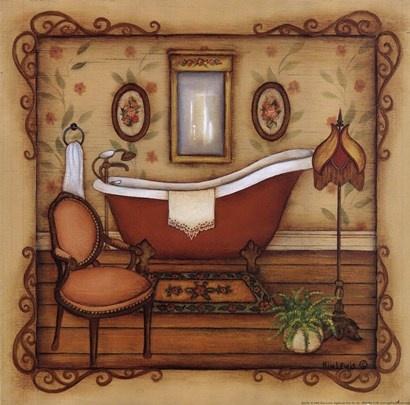 Vintage Bath Canvas Art Kim Lewis X
