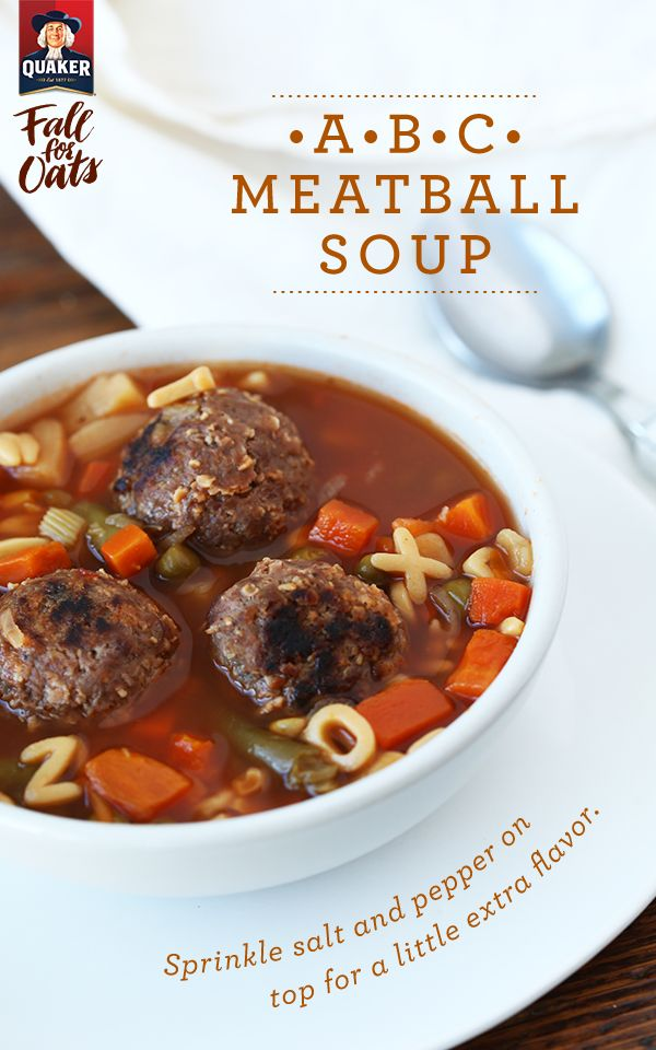 A Fall favorite packed into a bowl. Warm up with more than just flannel and enjoy the crisp air with Quaker® ABC Meatball Soup.