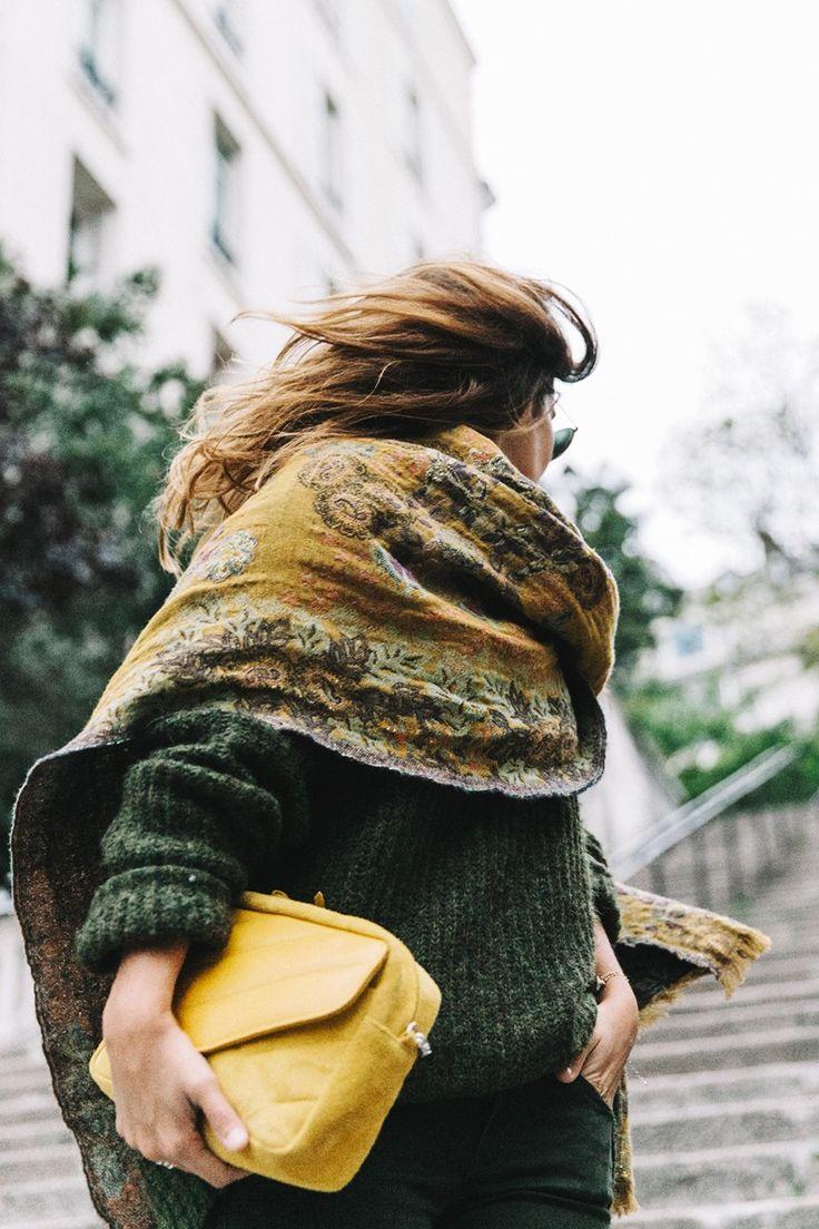 Maje_x_Minnetonka-Suede_Boots-Khaki_Outfit-Vintage_Scarf-Tita_Madrid_Bag-Yellow_Bag-Outfit-Paris-Street_style-Collage_Vintage-a31 зеленый милитари
