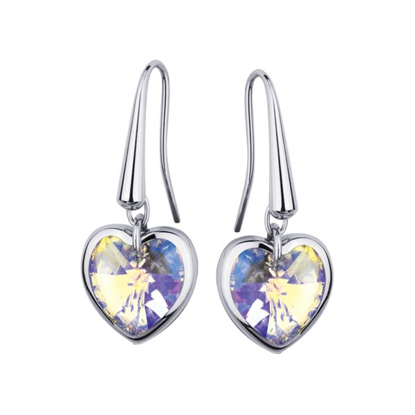 Polished Stainless Steel and Crystal Heart Drop Earrings.