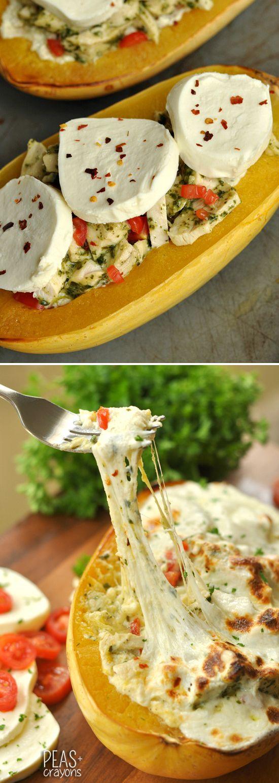 Cheesy Pesto Chicken Stuffed Spaghetti Squash