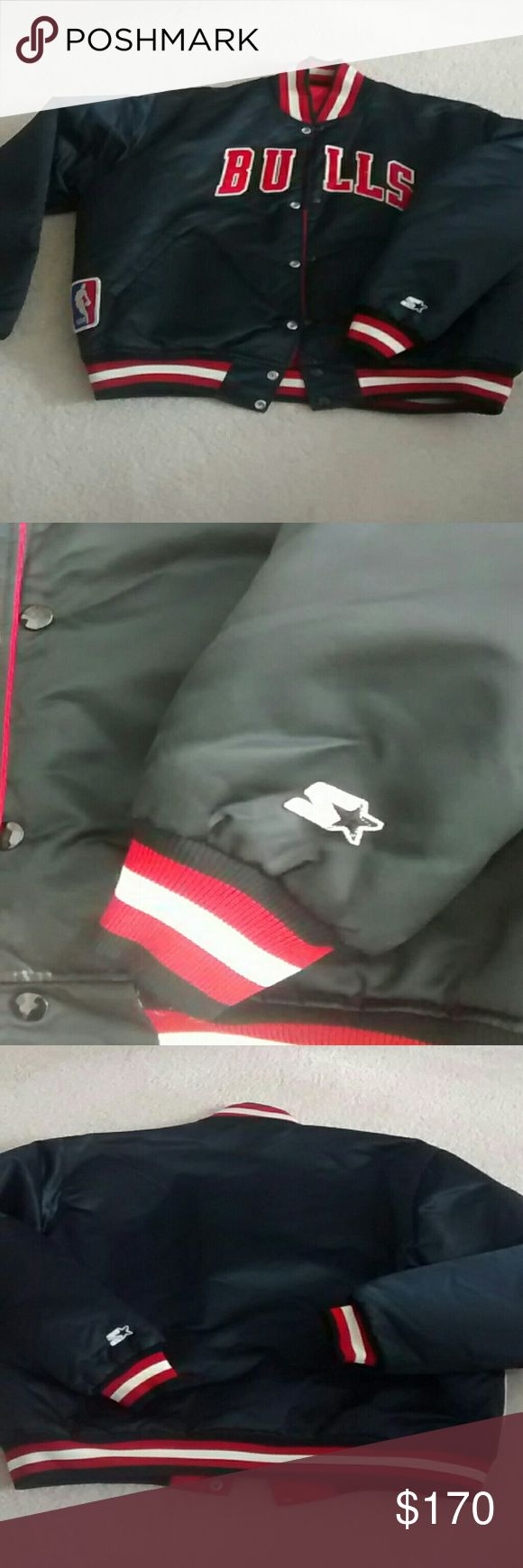 NBA  Bulls Starter Jacket NBA Vintage Reversible Satin Bulls Starter Jacket. It's reversible Red/Black. Pre-Owned in Excellent Condition. NBA NBA  Other