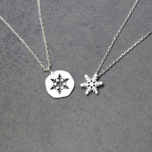 Amazon.com: Snowflake necklace, Best friend necklace for 2, BFF Necklace, friendship necklace for 2, silver dainty necklace, Christmas gift, Best friend necklace 2 piece, jewelry gift,Silver 925 necklace: Handmade