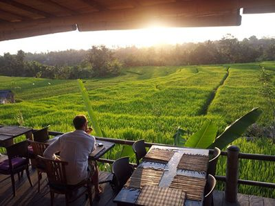 Sunset at Sari Organik - Organic Farm & Restaurant in Ubud Owned by Nila, who I interviewed for this blog post