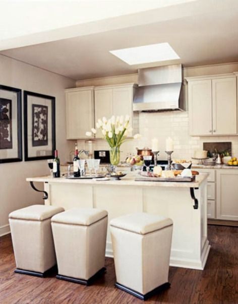 space saving tips for a small kitchen match seating to wall color backless stools can be slipped under the counter to save space and their cream color - Kitchen Decorating Ideas For Small Spaces