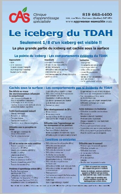 L'iceberg du TDAH - http://www.afped.ca/contentDocuments/B9736CE4-1B21-1875-A2D57668E6510F49.pdf www.tdah.be