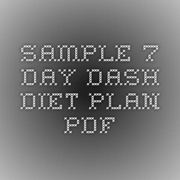 Sample 7 day DASH Diet plan PDF