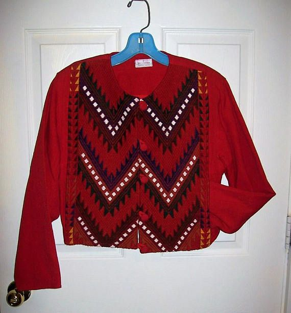 Vintage Ladies Red Southwest Tribal Print Short Blazer Jacket