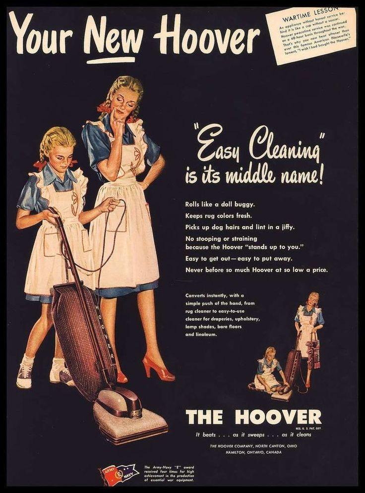 ORIGINAL VINTAGE HOOVER VACUUM CLEANER AD LIFE MAGAZINE OCT 15 1945 #LifeMagazine