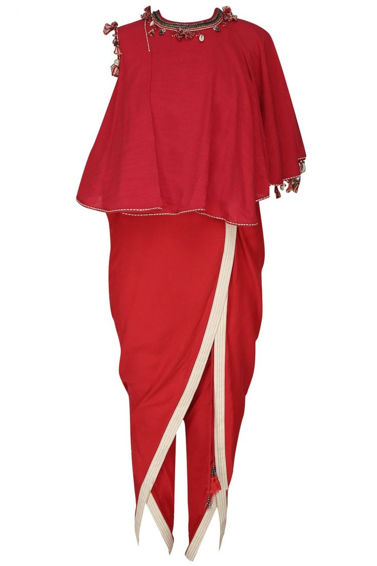 NIKASHA Red Embroidered Asymmetrical Layered Top With Overlap Dhoti Pants