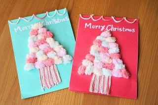 100均画用紙&毛糸で簡単!SWEETクリスマスカード☆彡