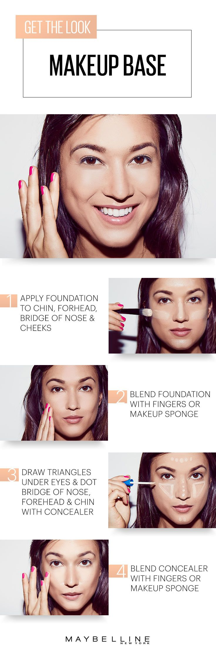 Spring makeup tip! Apply foundation first, then concealer. It makes your skin look 100% more flawless for the warmer months! Follow this simple Maybelline how-to beauty guide with our Better Skin combo and you'll be applying foundation and concealer like a pro in no time for a easy natural makeup look this spring season.