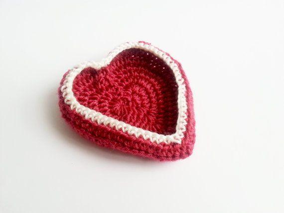 Handmade Heart Crochet Basket   by MKedraHandmade on Etsy, $6.00