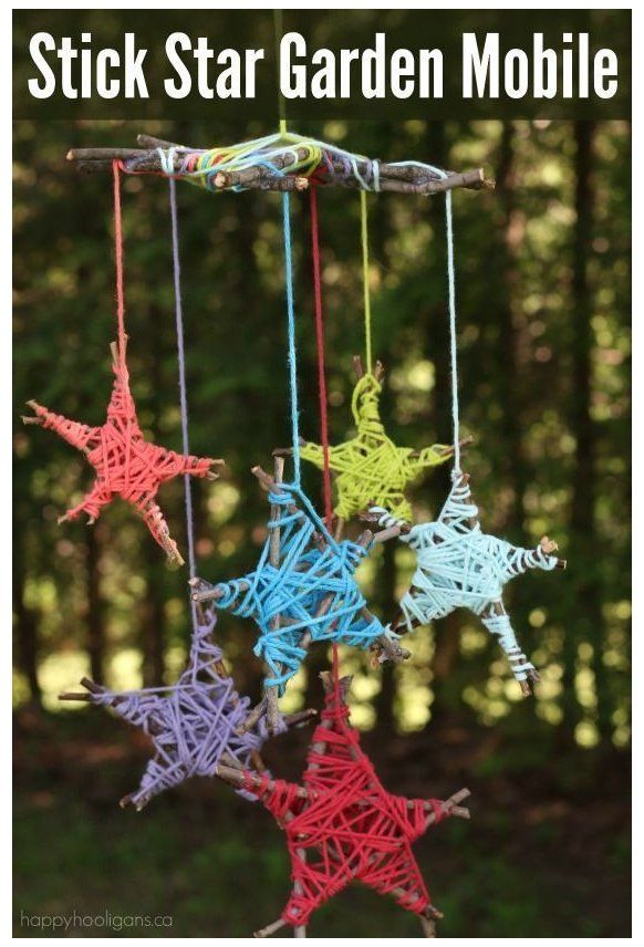 Mobile De Jardin Stick Star Fun Easy Nature Craft For Kids Stick Star Garden Mobile Les Enfants Mobile De Jardi Mobiles For Kids Crafts Nature Crafts