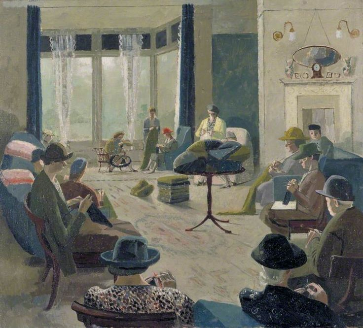 A Knitting Party, 1940 by Evelyn Mary Dunbar (British 1906-1960)