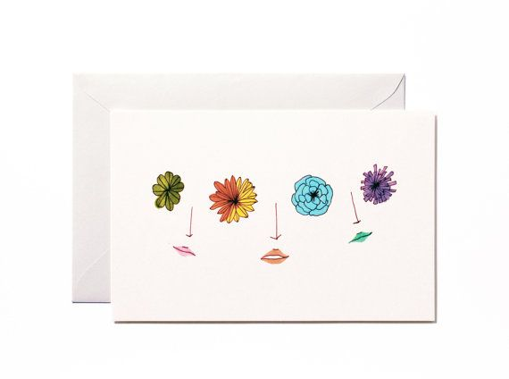 Happily sharing flower eyes-Art print-Postcard by Pionara on Etsy