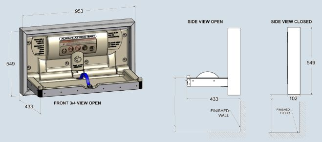BCP-SSC-SM Surface Mount Stainless Steel Baby Change Table