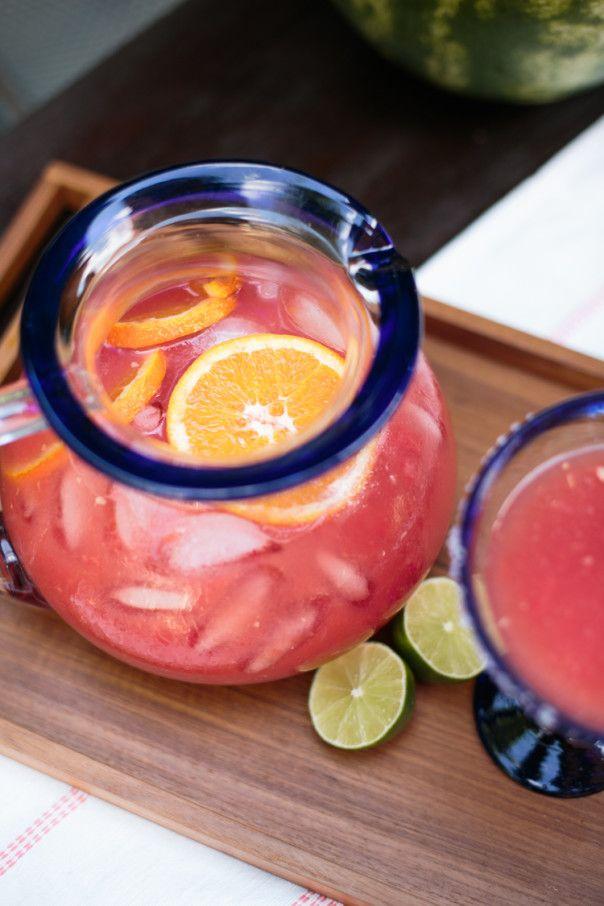 Watermelon Orange Margarita Punch @feastandwest