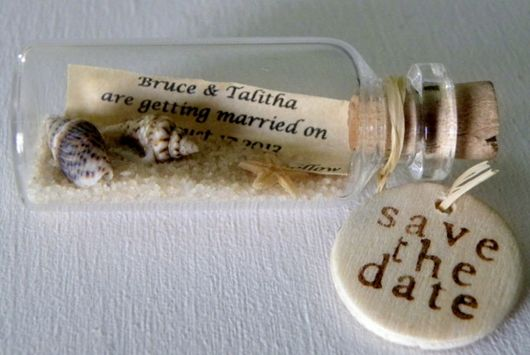 "Unique ""message in a bottle"" save the date for a seaside wedding"