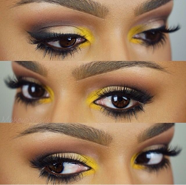 deep #neutral #smokey eye with inner corner pop of color: #yellow | #makeup…